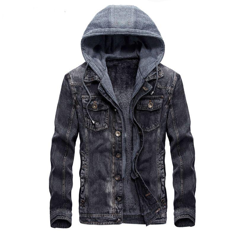 ada54681db0 Mens Hooded Denim Jacket Winter Coats Jeans Jackets For Man Thicker Warm  Outwear Overcoat Tops Brand Joobox XL XXL New Arrival Mens Style Jackets  Jaket For ...