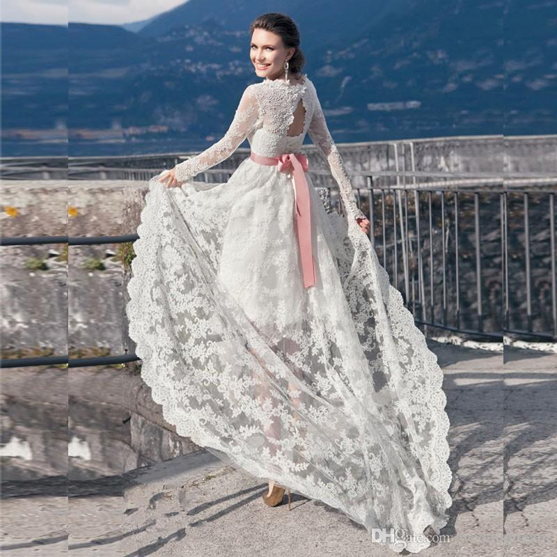 High Low A Line Beach Wedding Dresses Square Long Sleeve With Pink Ribbon Sash Bride Gown Lace Appliques Tulle Asymmetrical Wedding Gows