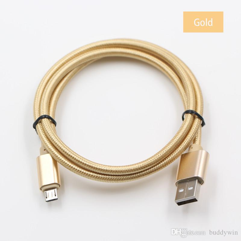 المعادن الإسكان مزين مايكرو USB كابل 2.1a عالية السرعة شحن البيانات الرصاص نوع USB C 1M / 3FT عمر طويل