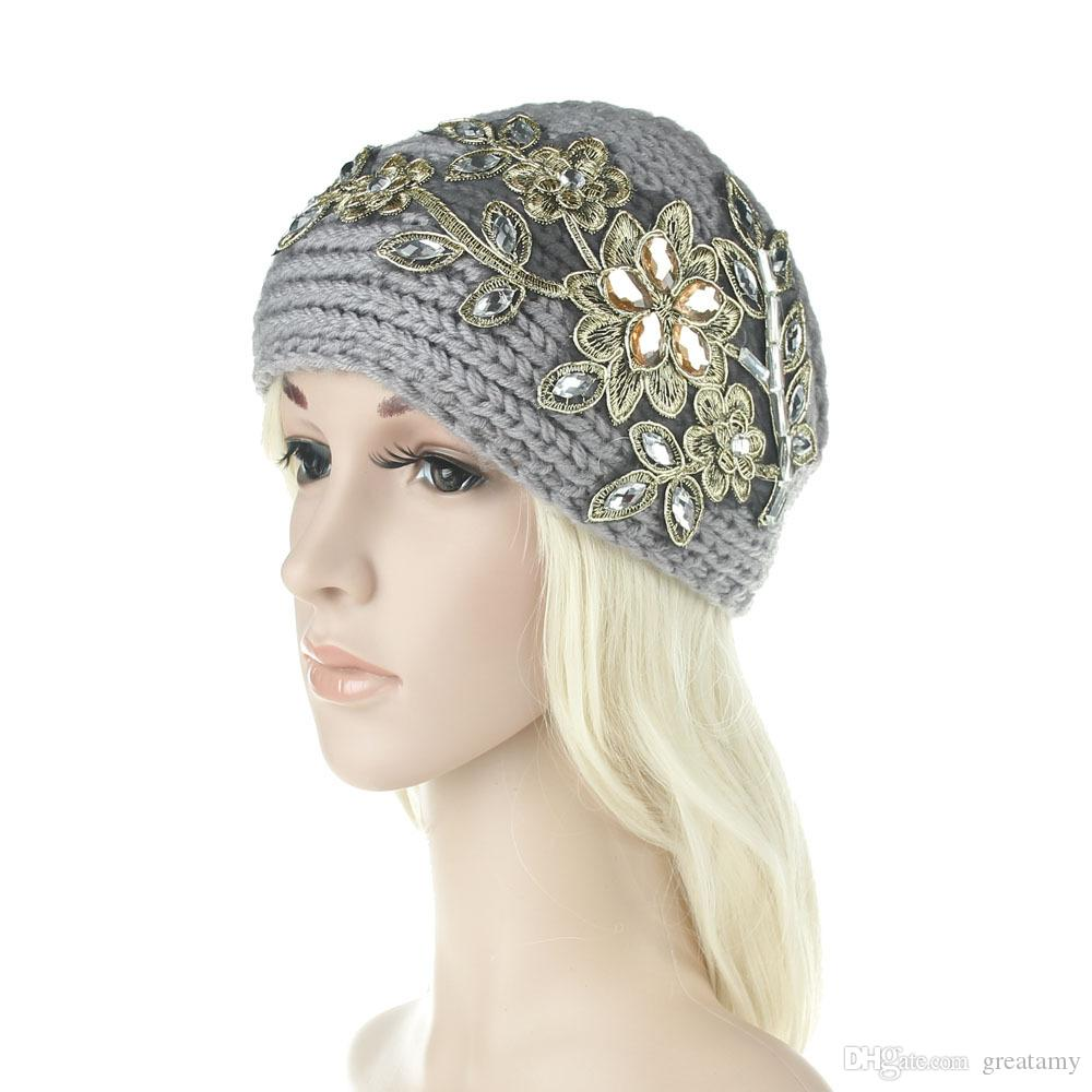 Women Fashion Hair Jewelry Wool Crochet Headbands Knit Hair bands Flower Winter Ear Warmer Wool hair bands
