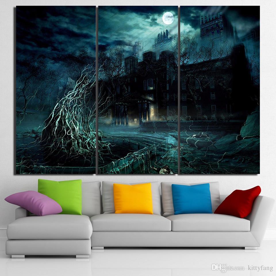 3 unidades de arte de la lona Stormy Dark Night Poster HD Impreso arte de la pared Home Decor Canvas Painting Picture Prints envío gratis NY-6603B