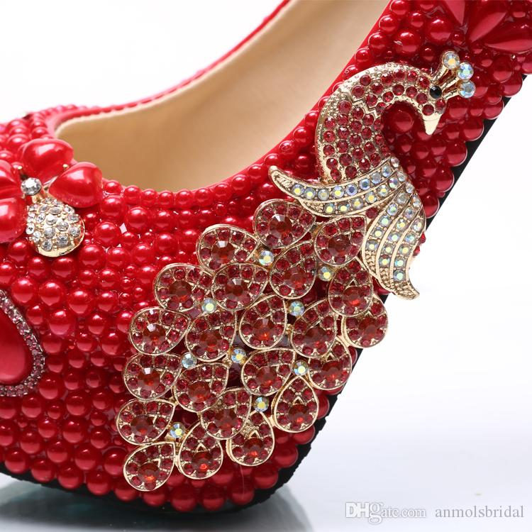 Wholesale Red Flower Cinderella Shoes Prom Evening High Heels Beading Rhinestones Phoenix Bridal Bridesmaid Hand-made Wedding Shoes 144