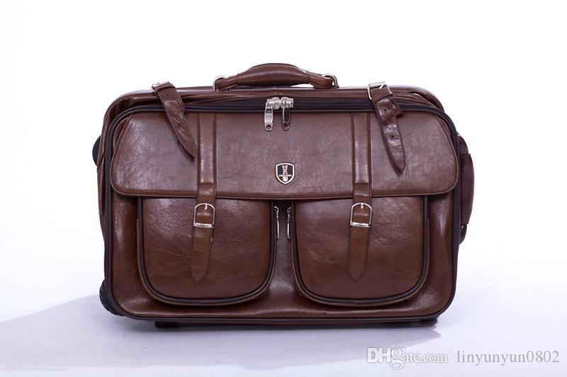 20 '' Inches Genuine Leather Trolley Luggage, Vintage Suitcase ...