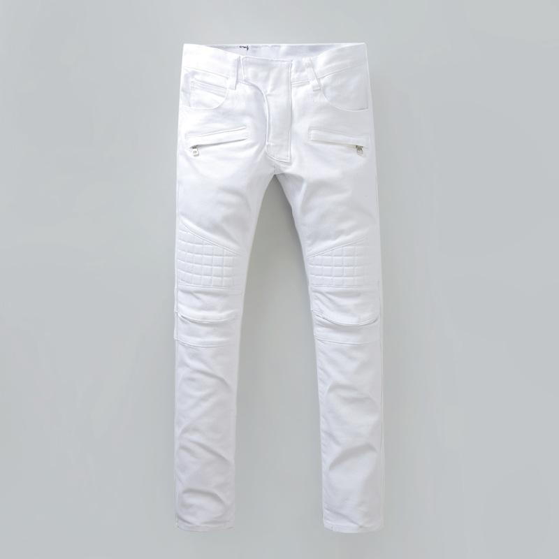 b419b9bb 2019 Wholesale 2016 New White Coating Casual Chic Slim Moto Jean Zipper Fly  Pockets Knee Embroidered Biker Jeans For Men Locomotive Pant,MA089 From ...
