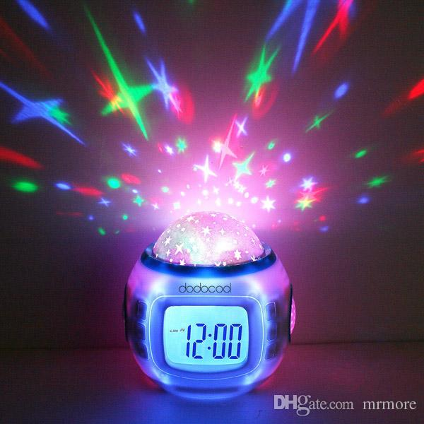Digital Led Projection Projector Alarm Clock Calendar Thermometer horloge reloj despertador Music Starry Color Change Star Sky Night Lights