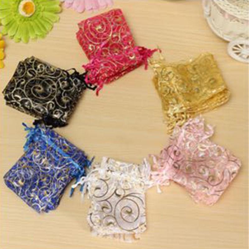 7 * 9 cm 50 adet Organze çantalar Düğün Hediye çantası Takı Şeker Çanta düğün hatıra düğün noel dekorasyon 7 * 9 cm
