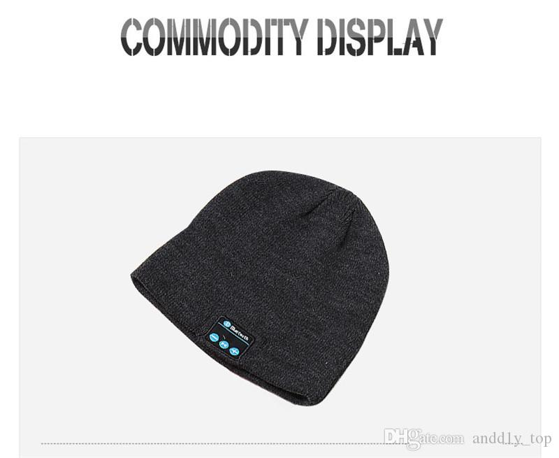 Bluetooth Şapka Müzik Beanie Cap Bluetooth V4.1 stereo kablosuz kulaklık Hoparlör Mikrofon Eller serbest İçin Tüm Akıllı Telefon Müzik Şapka
