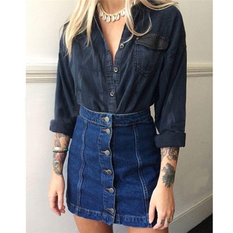 a91ebf9be 2019 Fashion Summer Style Ladies Denim Skirts 2017 Women Vintage Jean  Miniskirt Blue High Waist Package Hip Retro Short Pencil Skirt From  Nicolan, ...