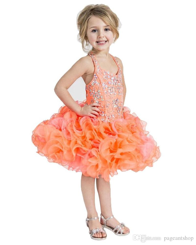 Orange Halter Baby Kids Formal Wear Pageant Cupcake Dresses Infant Tutu Gowns Toddler Baby Girls Ruffled Party Pageant Dress