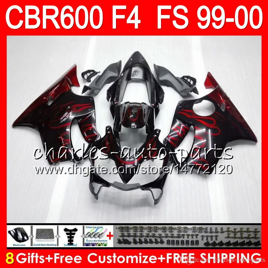 8Gifts Carrosserie Pour HONDA CBR 600 F4 99-00 CBR600FS FS 30HM12 flammes rouges CBR600 F4 1999 2000 CBR 600F4 CBR600F4 99 00 Kit de carénage