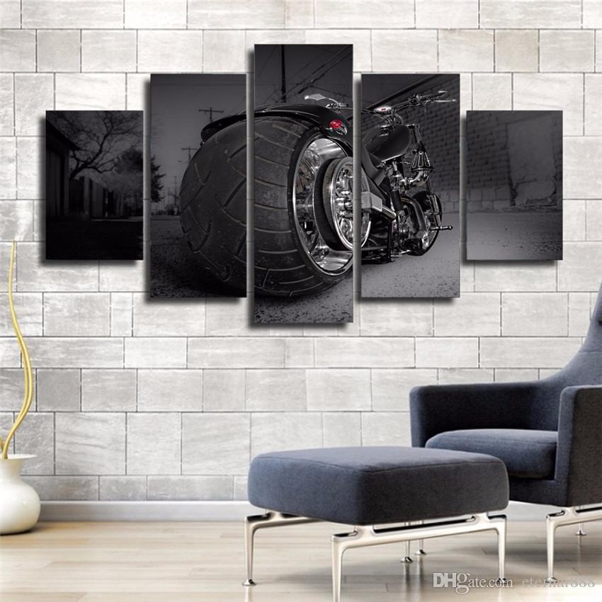 5 Panels Coole Motorrad Moderne Abstrakte Leinwand ölgemälde Print Wall Art Decor Für Wohnzimmer Dekoration Gerahmt Unframcla