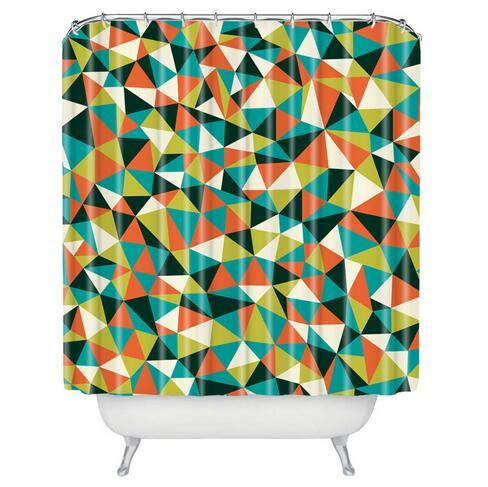 Customized Fashion Geometric Shower Room Curtain Comfortable Fabric 180CM Waterproof Bathroom Separated