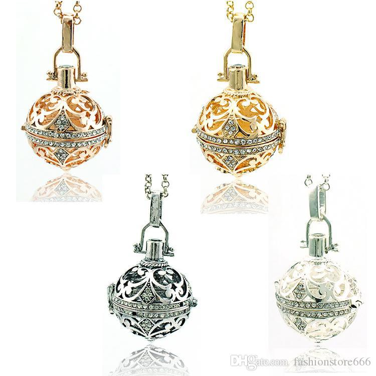Fashion Pendants Necklace 4 Color Rhinestone Baby Chime Musical Ball Cage Necklaces For Pregnant Women Jewelry