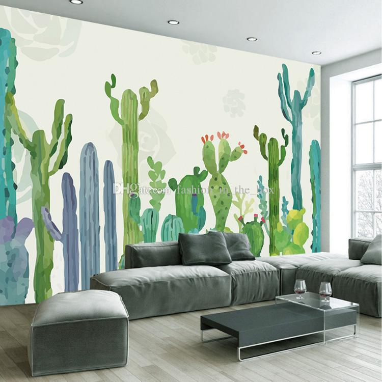 3d Wall Mural Hand Painted Cactus Wallpaper Interior Art Decoration Tropical Plant Children Bedroom Nursery Livingroom Hotel Decor Free High