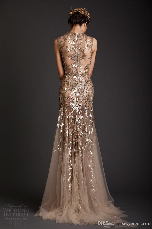 Krikor Jabotian Evening Dresses 2017 Gold Mermaid Shape Tulle Sheer See Through Appliques Prom Dress Emboridery Long Formal Dubai Gowns