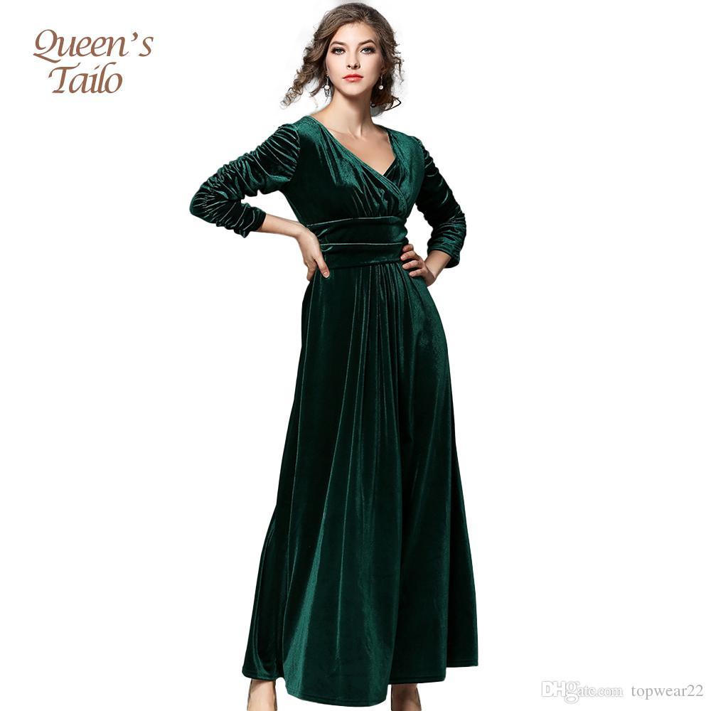 Großhandel Samt Party Kleid Mode Frau Herbst Winter Qualität Velour ...
