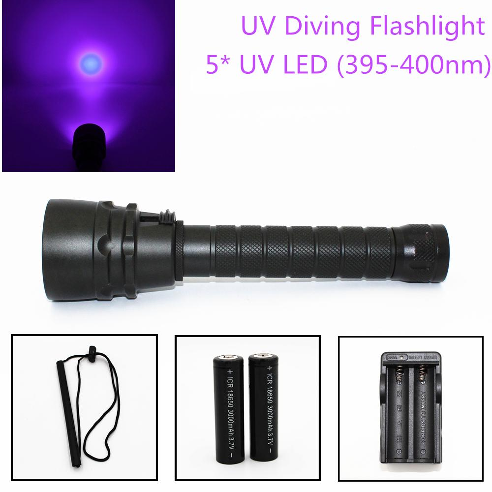 25W Ultraviolet Lantern 5000LM 5 X UV LED Purple Light Underwater 100M Waterproof Diving Flashlight Aluminum Torch Lamp for Hunting DL0074