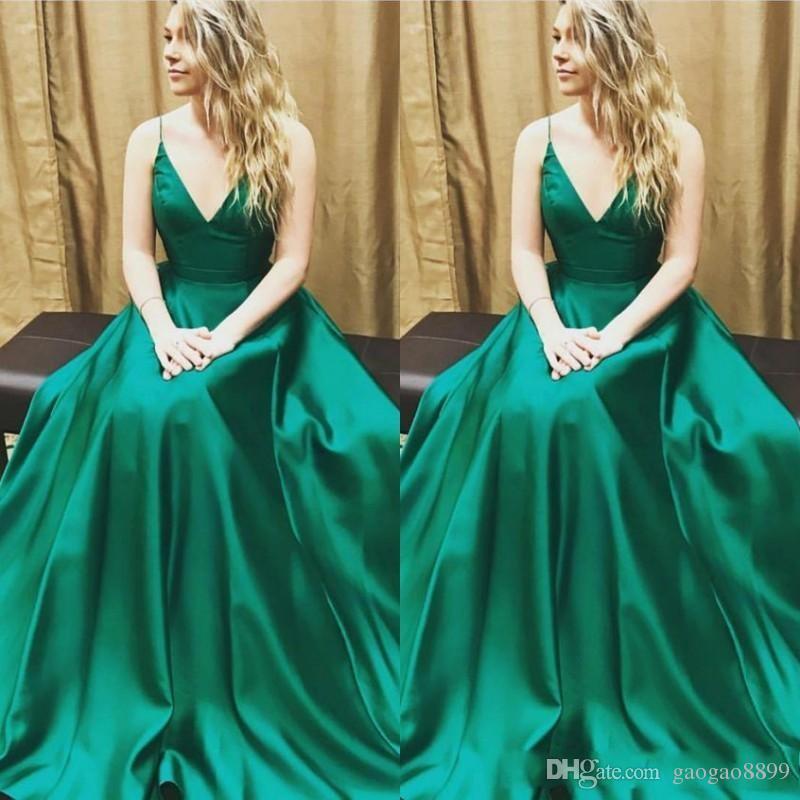 superior quality 57489 8987d Elegante abito da sera formale di linea verde smeraldo lungo Sexy senza  spalline con scollo a vera Abiti da festa di promenade Custom Made DTJ