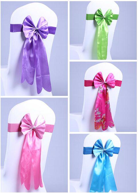 Gratis EMS Long Ribbon No es necesario atar el nudo Wedding Silk Chair Cover Fajas Sash Party Banquet Decoration Decor Bow