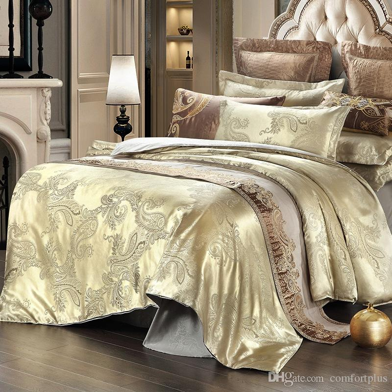 New Satin Jacquard Bedding Set Spring Summer Duvet Cover Sets Quilt Cover Bed Sheet Pillowcase Full/Queen Factory Price