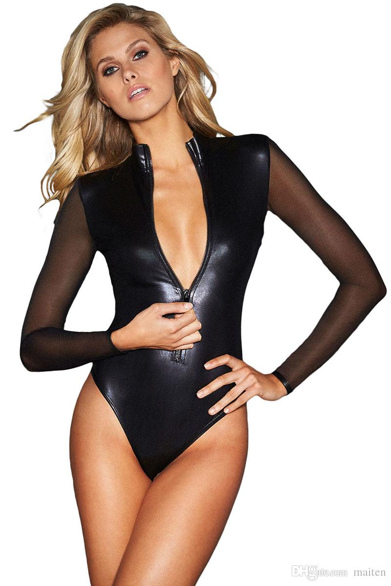 Something Sexy girls black leather body suits