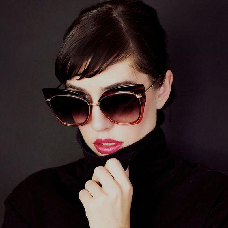 Compre Clássico Olho De Gato Mulher Óculos De Sol Grandes Quadros De Metal Feminino  Óculos De Sol Rodada Lente Óculos De Sol Menina Moda De Chrisl, ... 598f5bcdba