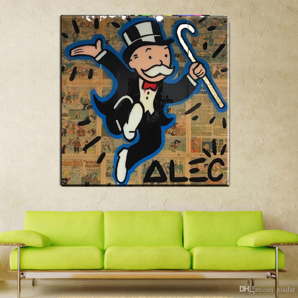 2017 Dance Canvas Graffiti Street Art Prints Alec Monopoly Poster Money Man Print For Bedroom And Living Room From Xiadar 643