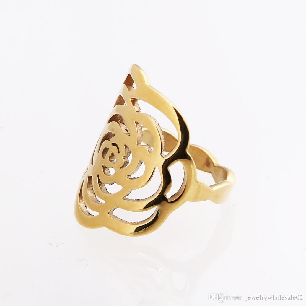 Foreign trade source export mixed batch vintage camellia flower ring petals hollow stainless steel ring