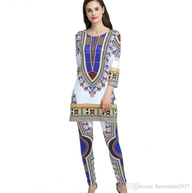 2019 African Print Dresses Sets For Women Dashiki Traditional African Two  Piece Set Africaine Print African Bazin Tops+Pants Clothing From  Haoyunlai2017 4b10290de6a4