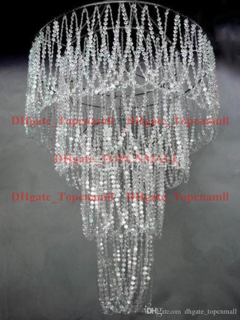 large 4 tiered crystal bead curtain diamond cut crystal for