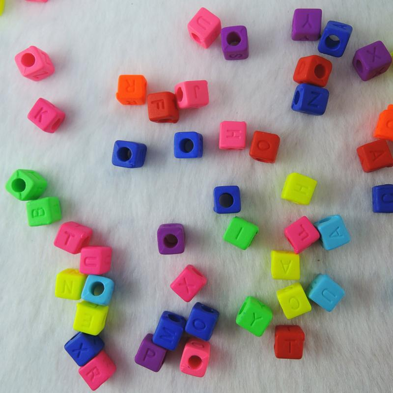 7 styles 6*6mm Cubic Acrylic Mixed Alphabet Letter Loose Spacer Beads Jewelry Accessories DIY Bracelet Necklace Making Beads