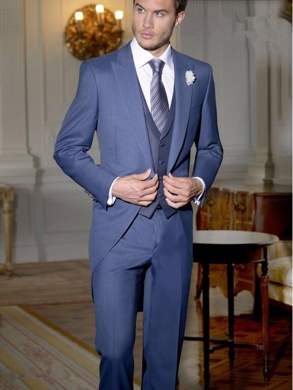 Tailor Made Lacivert Beyefendi Takım Tailcoat yeni Stil Damat takımları Smokin Uzun Düğün Balo Parti Suits ceket + yelek + pantolon