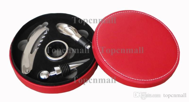 NEW Red wine bottle opener set / Wine Opener Gift Set Fancy Round Leather Box Wine Kits Set Accessories