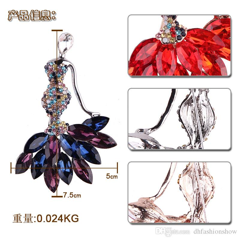 Luxury Full of Crysal Rhinestones Mermaid Brooch Fashion Lapel Pin Large Brooches for Women Wedding Party Costume Fine Jewelry