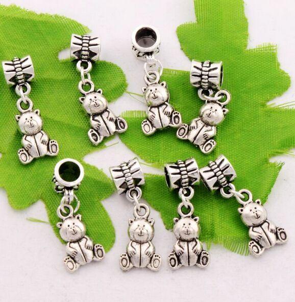 Antique Silver Teddy Bear Charms Beads Dangle Fit European Bracelets Jewelry DIY 15x30mm