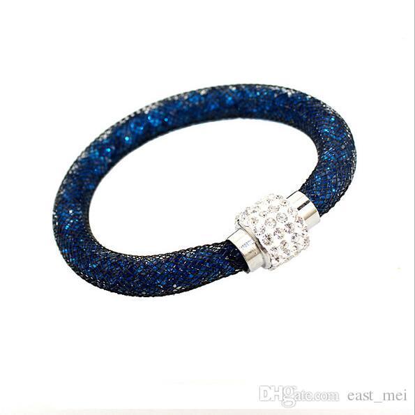 Brand new Hot mesh mesh tube crystal single layer magnetic button bracelet bracelet FB013 a Beaded, Strands