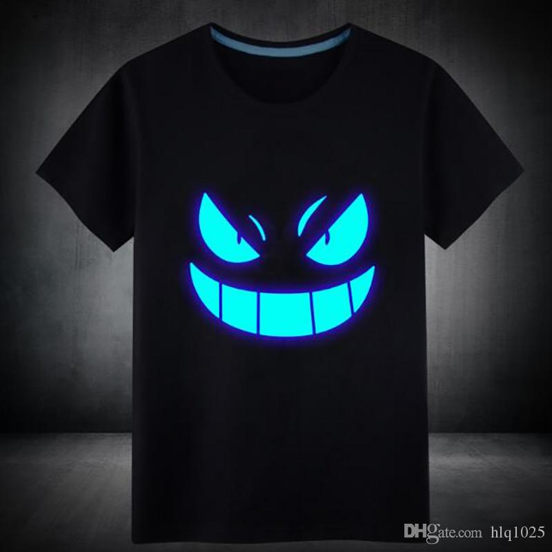 Wholesale Mens Summer Short T-Shirt Blue Fluorescent Casual Luminous T-shirts Men Tshirt Male Fitness Tops free shipping