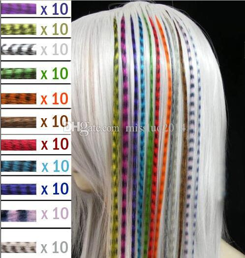 Hot Colorful Length 16inch 40cm Synthetic Available Grizzly Loop Feather Hair Extensions Hairpiece