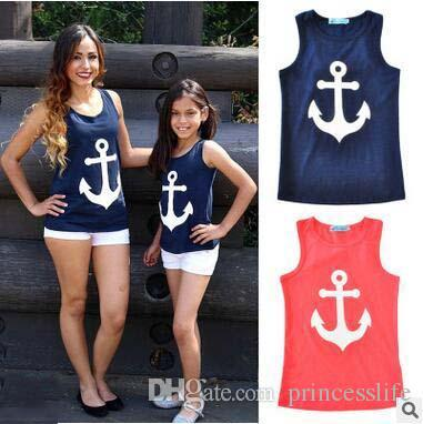 1d137c45 Family Matching Outfits Vest T Shirt For Mother Daughter Anchor Printed  Parent Child Outfit Father Mother Daughter Son Family Suits Couple Matching  Shirts ...