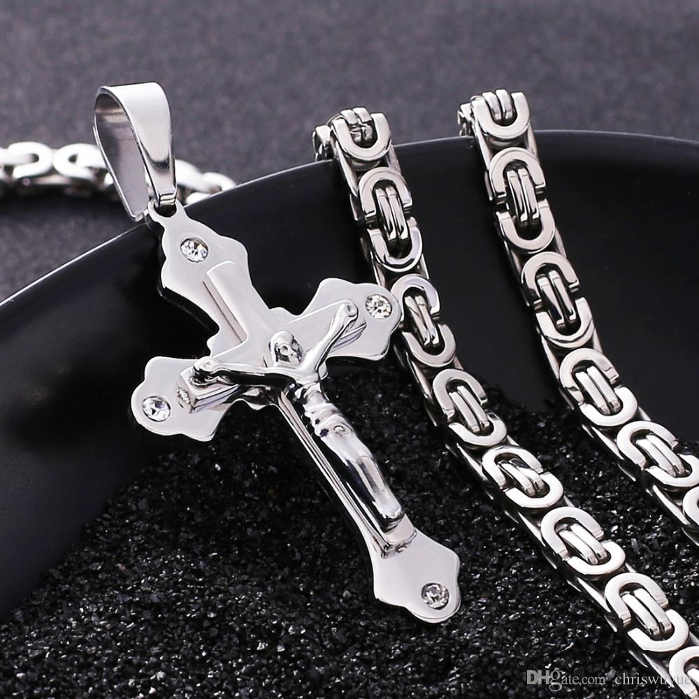 6MM Width Stainless Steel Necklace Men Luxury Crystal Cross Pendant Jewelry,Silver Gold Color For Choose
