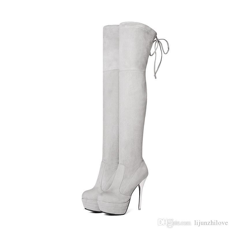 mode aurumn winter frauen stiefel schwarz rot grau damen stiefel plattform kreuz gebunden super hoch über dem knie stiefel
