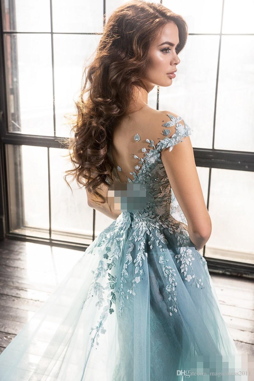 2019 Elie Saab de la sirena de los vestidos de noche sobrefaldas Sheer vestidos de baile ropa de noche formal de la joya perlas apliques de encaje de tul A-Line