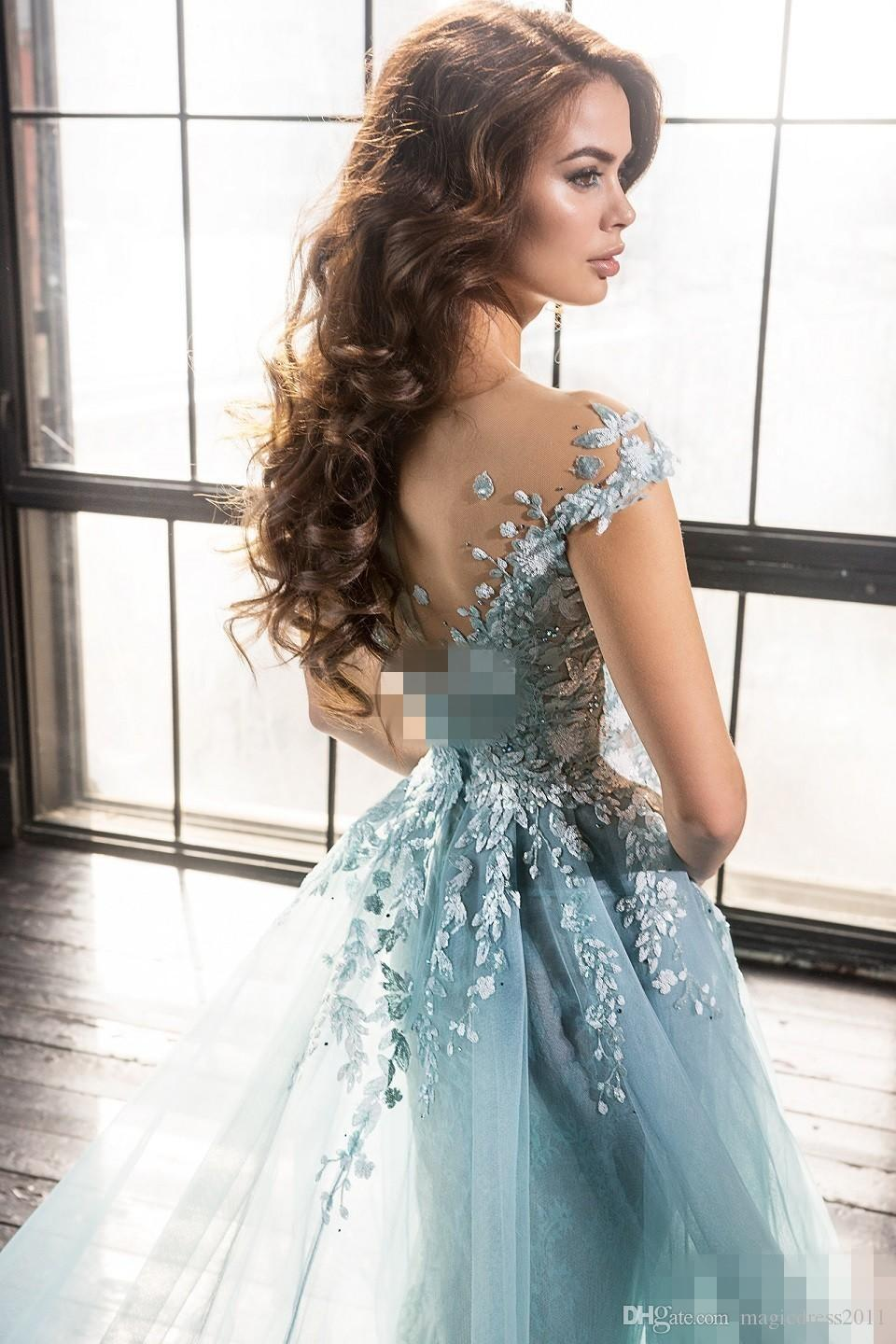 2019 Elie Saab sereia noite Vestidos overskirts Sheer Jewel Lace Applique Beads A-Line Tulle Prom Evening Formal Wear
