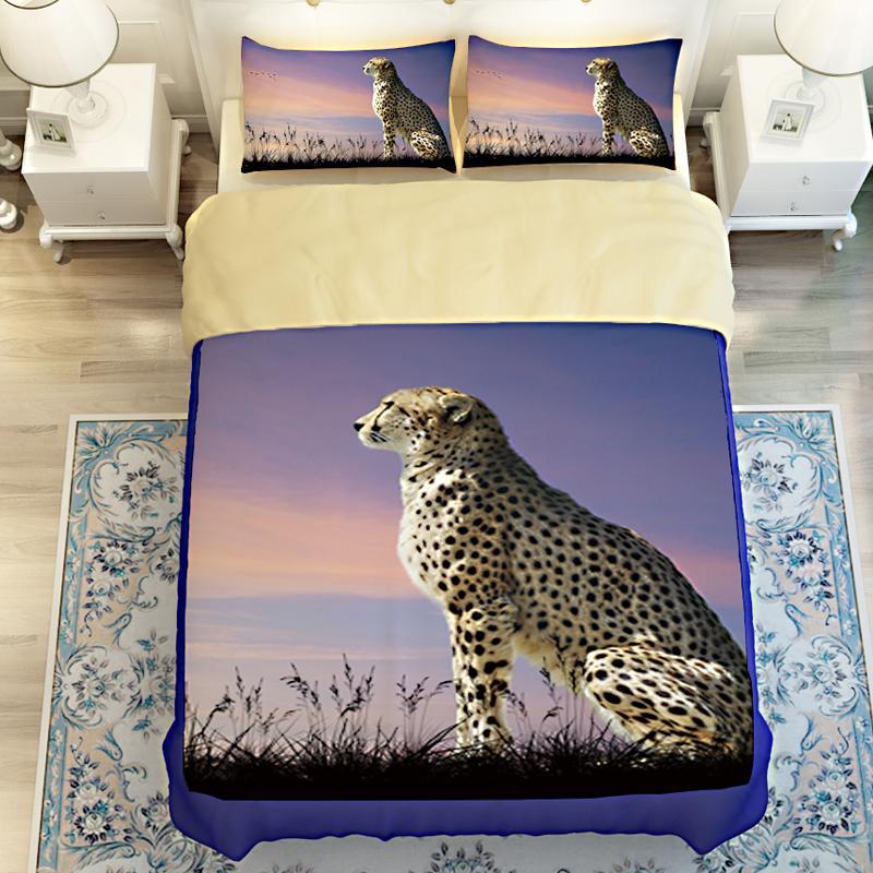 3d animal leopard lion tiger wolf 4bedding bedding set 3d bed linen duvet cover bed sheet pillowcases king size bed cotton duvet cover