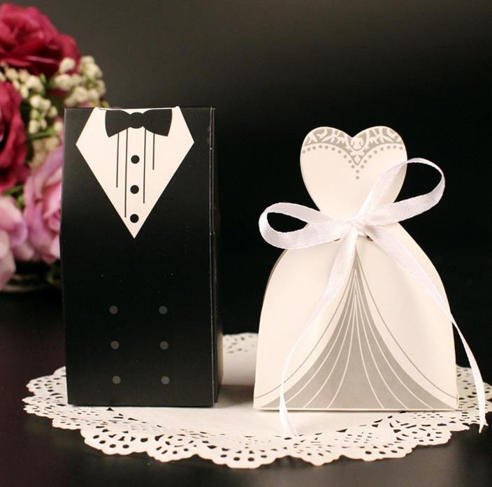 Dress & Tuxedo Bride Groom Wedding Favour Ribbon Candy Bomboniere Box Anniversary Valentine's Day Engagement treats paper boxes