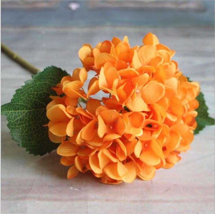 Fournitures de Fête Artificielle Hortensia Tete De Fleur 47cm Faux Soie Unique Real Touch Hortensias 8 Couleurs pour le Mariage Centres de Maison Fleurs
