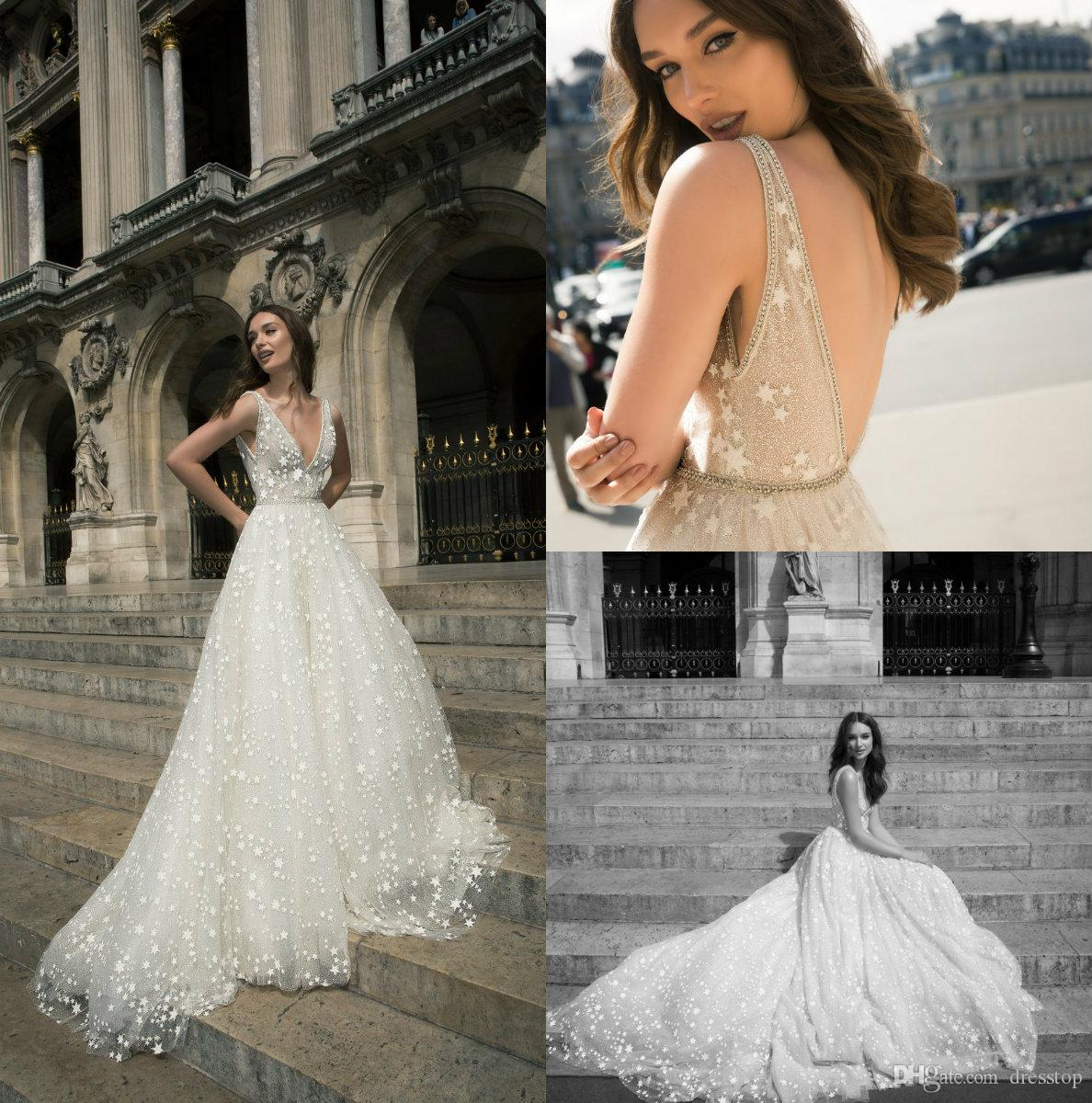 c363fb318585 Discount Elegant 2018 Wedding Dresses V Neck Backless Bridal Gowns With  Stars Sweep Train A Line Crystal Wedding Dress Custom Made Wedding Dresses  Under 100 ...