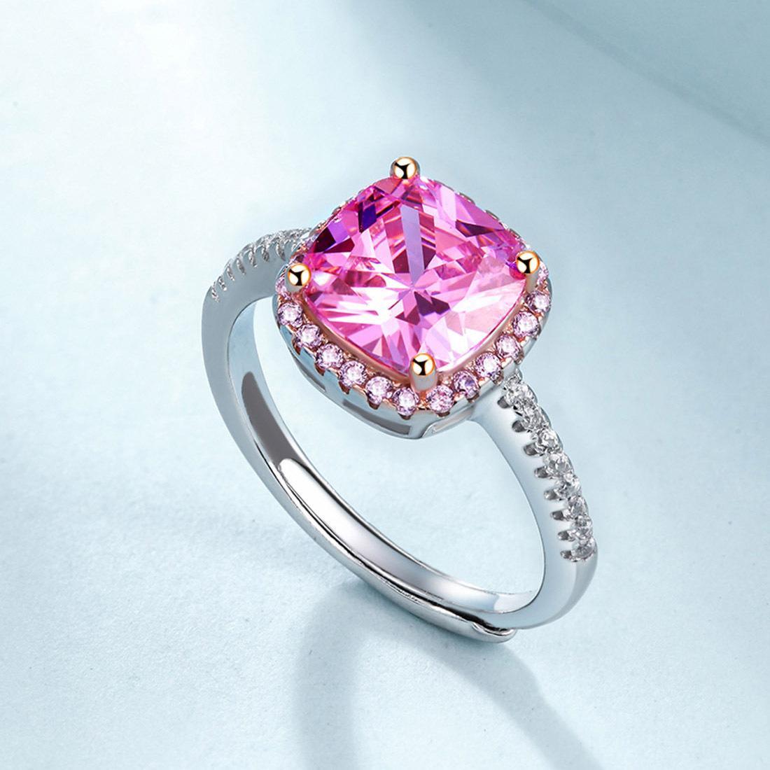 8343f3f1355 Agood pembe kare CZ elmas düğün parti yüzükler kadınlar için 925 ayar gümüş  açık yüzük moda takı aksesuarları