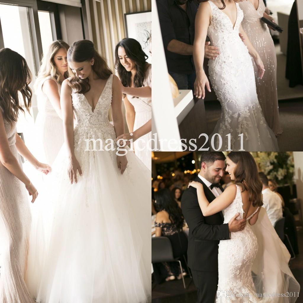 7477ecb5282 2017 Steven Khalil Two Pieces 2 In 1 Mermaid Wedding Dresses With Removable  Long Over Skirt Train Pearls Bridal Gowns Plus Size Cheap Ruched Mermaid  Wedding ...