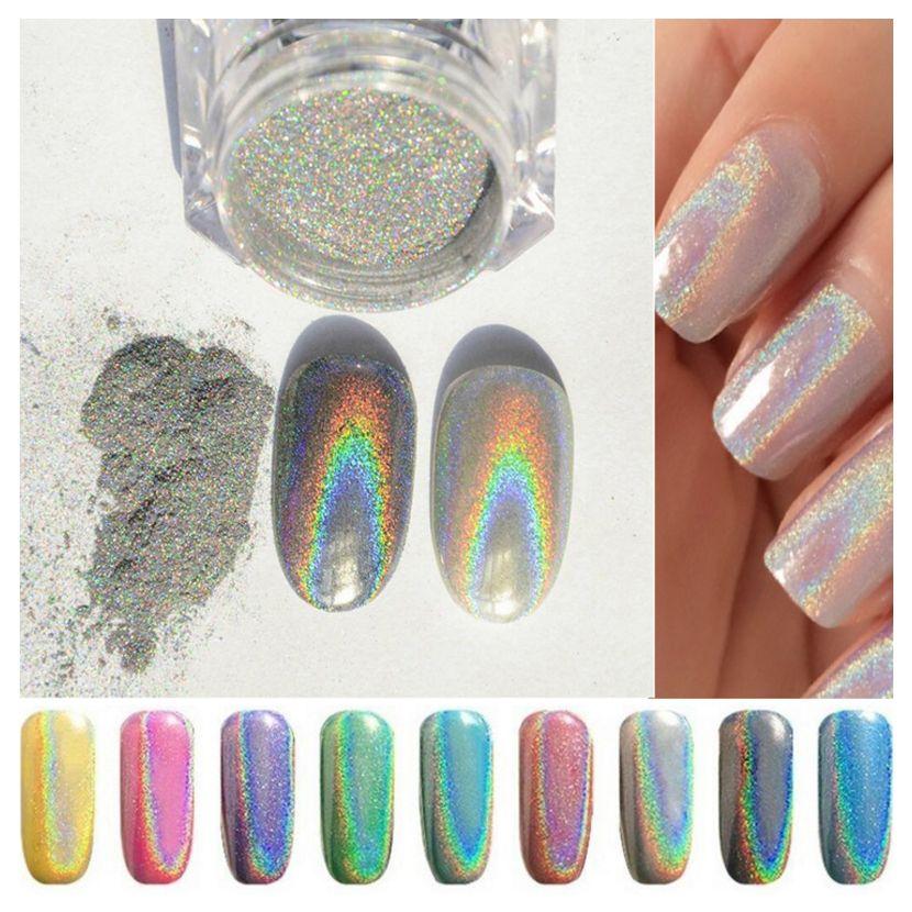Holographische Laser Nagel Glitter Pulver Staub 8 Farben Maniküre Nail Art Dekoration Pigment 8 Boxen Spezieller Kauf Nagelglitzer